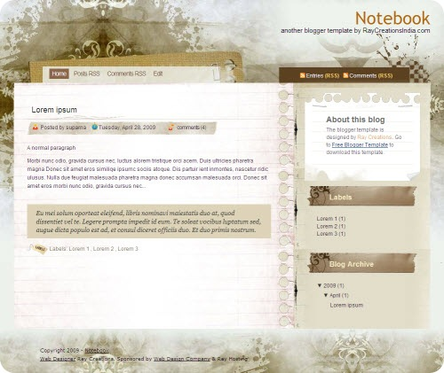 notebook-blogger-template