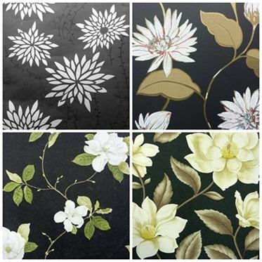 Vita blommor på svart botten2