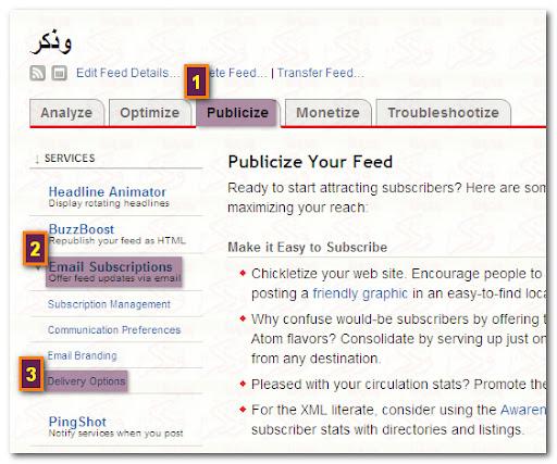 Delivery Options, FeedBurner, RSS, FeedCount, Subscriber Management, خيارات التسليم