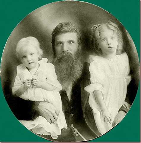Simon Haught &amp; granddaughters Myrtle &amp; Pearl Ramsey 1904