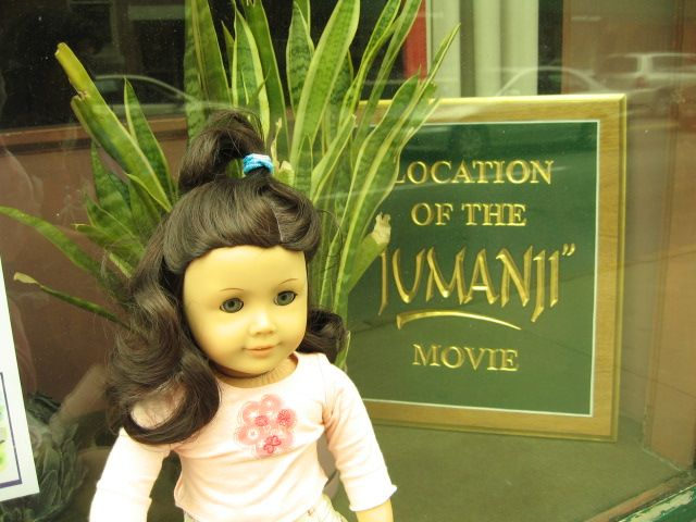 Ruthie poses by one of the Jumanji locations