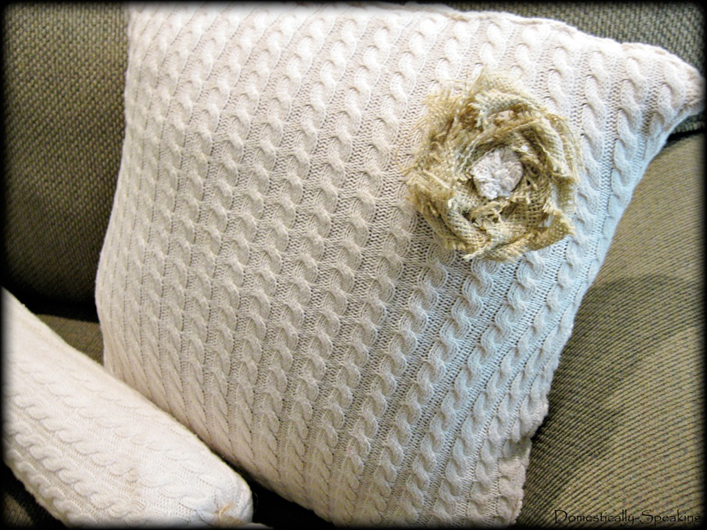 Sweater turned pillows