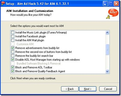 AIM AD HACK SCREEN