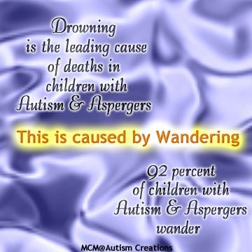 Drowning is the leading cause of deaths in children with autism and aspergers. This is caused by wandering. 92 percent of children with autism and aspergers wander.