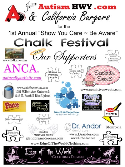 AutismHWY.com's 1st Annual 'Show You Care ~ Be Aware' Chalk Festival supporters