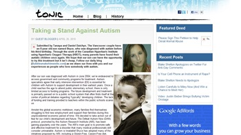 Tonic Taking a Stand Against Autism