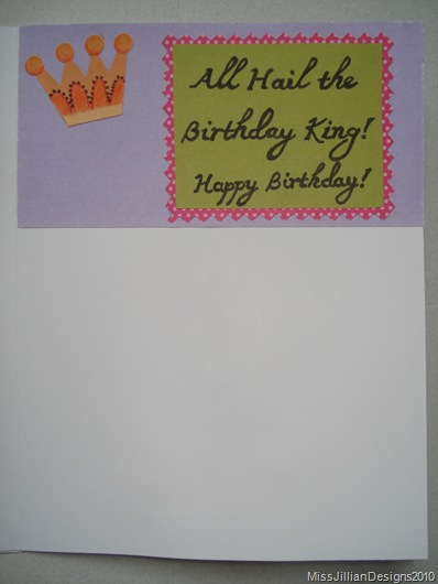 Hedgehog King birthday card - INSIDE