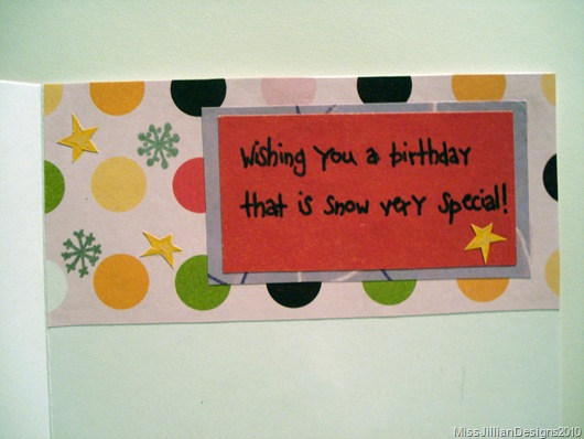 Birthday Card - Snowy Birthday - Inside Detail