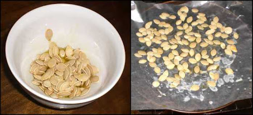 Pumpkin seeds spread out to cook.