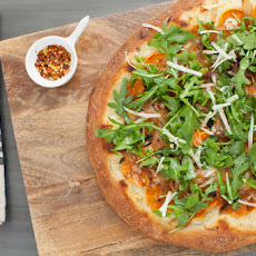 Roasted Sweet Potato & Caramelized Onion Pizza with Creamy Béchamel, Fontina Cheese & Arugula Salad