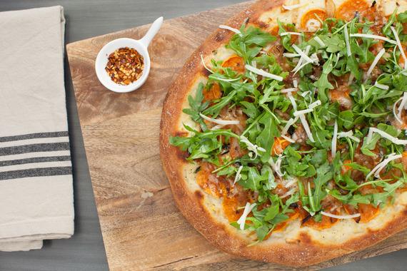 ... Onion Pizza with Creamy Béchamel, Fontina Cheese & Arugula Salad
