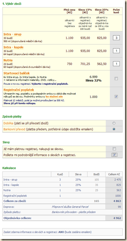 Intra - objednávkový formulář s Javascriptem