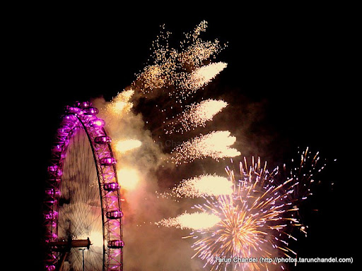 The New Year Fireworks at London Eye. It was a wild night with celebrations