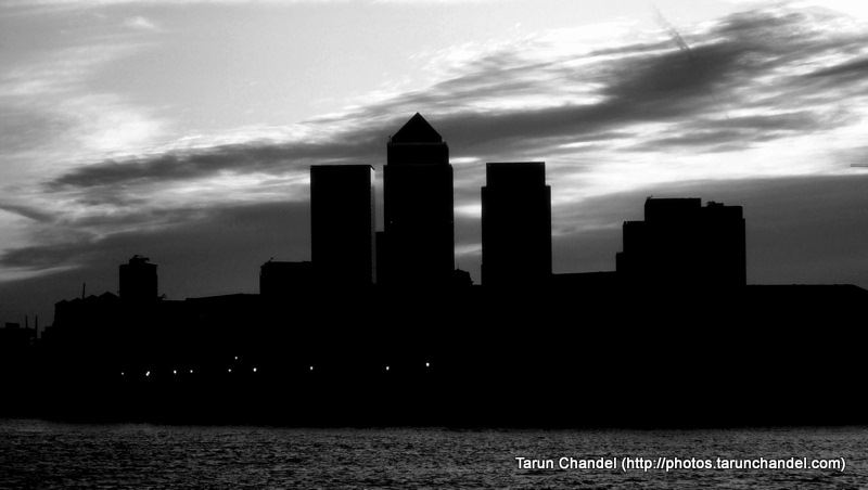 London Canary Wharf Thames Riverside Silhouette, Tarun Chandel Photoblog