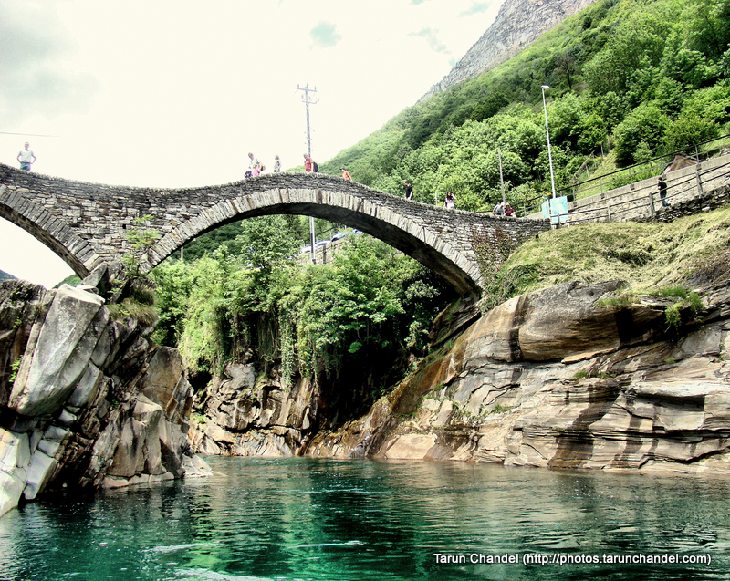 Ponte dei Salti Ancient double arch stone bridge green water Lavertezzo Verzasca valley Switzerland, Tarun Chandel Photoblog