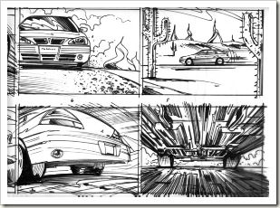 car commercial storyboard art