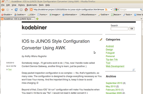 Kodebiner in web browser mode