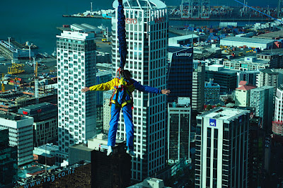 Bungee Jumper paused at Observation Deck, Sky Tower, Auckland, NZ