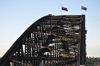 top of Sydney Harbour Bridge with bridge walkers