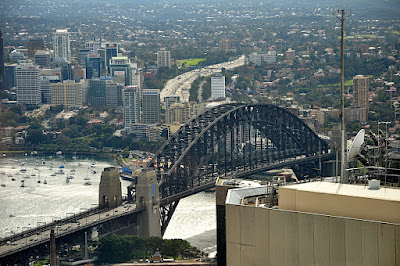 Sydney Harbour Bridge and skyline from Sydney Tower