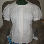 White and Beige Striped Shirt