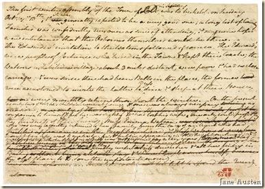 Jane Austen. Lettre. J.P.Morgan