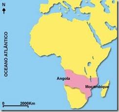Mapa-cor-de-rosa. Este mapa marcava com a cor rosa os territórios a que Portugal se considerava por direito.