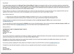 Semi-finalist notice email