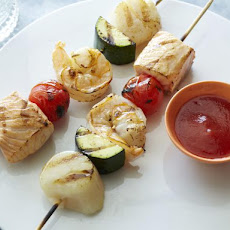 Saucy BBQ Seafood Skewers with Not-So Secret BBQ Sauce