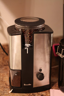 picture of coffee beans in grinder