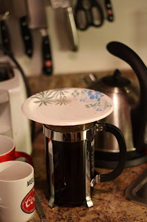 picture of french press covered with paper plate