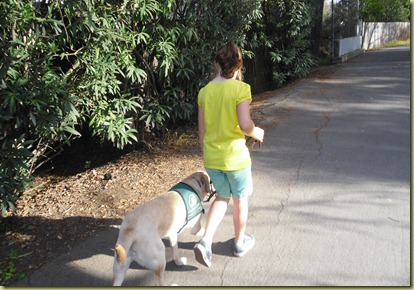 Sara walking Reyna on the canal trail.  Reyna is in the perfect heal postion.
