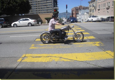 Photo of a loud motorcycle on the streets of SF.