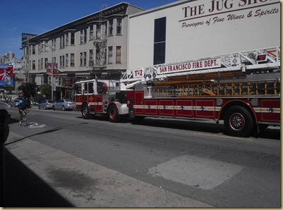 Photo of the fire engine that passed by Reyna blowing its horn.