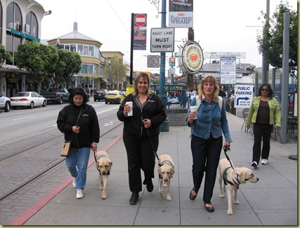 Lynn and Adonis, Reyna and I and Marikay and Delhi walking at Fisherman's Wharf.