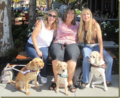 The three pups and their moms.  Glenda and Wendy, myself and Vienna and Lynda and Tamera sitting on a bench outside the restaurant.