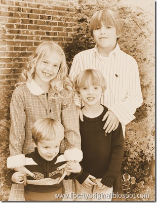 Kids Standing Sepia