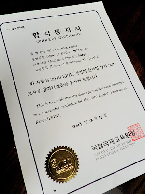 My Korean Notice of Appointment