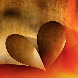 Rakkaus ruosteessa, mutta sydän rakastaa palavasti by Niina Hakkarainen - Digital Art Abstract