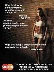 Polish posters enlivening people to transport to Britain for a free abortion