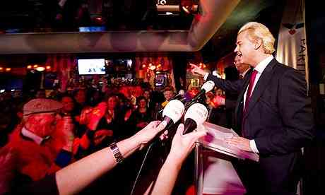 Dutch far-right statesman Geert Wilders speaks to supporters in Almere after internal elections