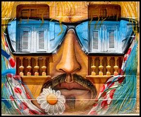 Fachada decorada c graffiti, em Olinda - Pernanbuco