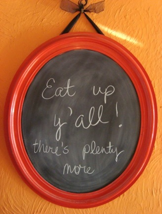 chalkboard with message