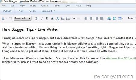 Live Writer Edit Screen