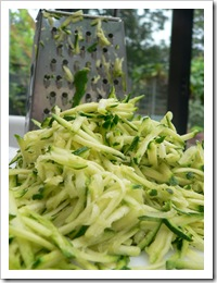 Grated courgette