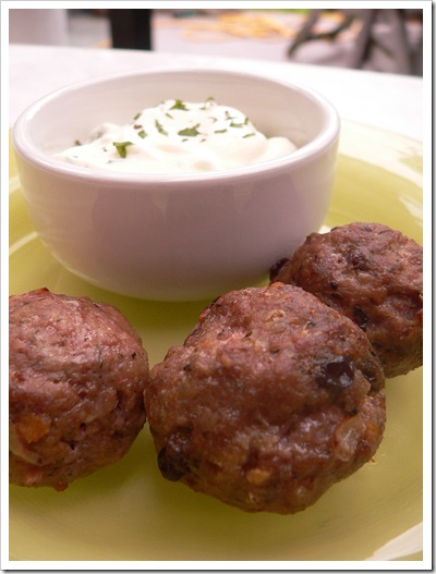 Lamb meatballs with minted yoghurt