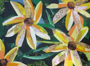 Yellow Flowers by collage artist Megan Coyle