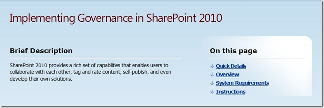 Governancia SharePoint 2010