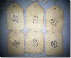 winter stamped hangtags