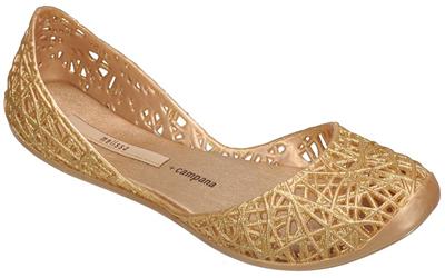 Melissa Campana Zig Zag Dourada com Glitter